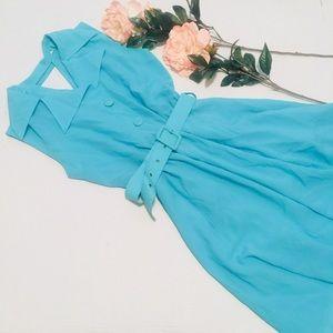 Vintage 50s style Aqua dress with belt